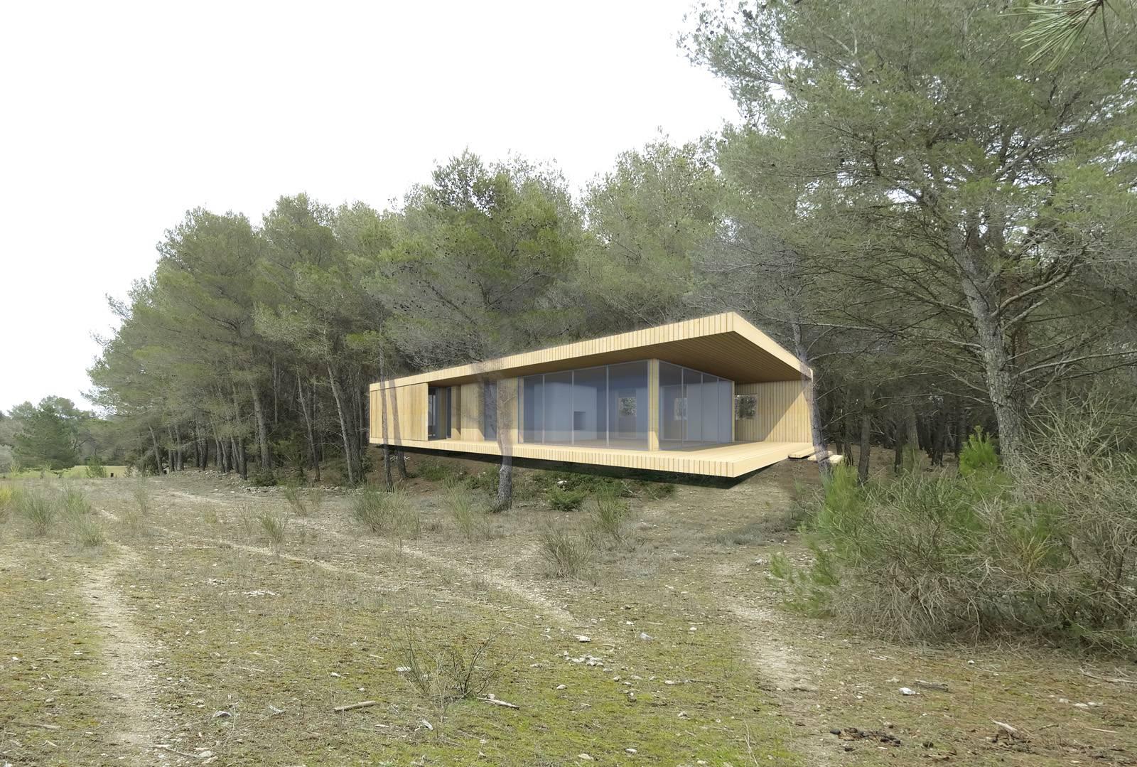 construction d 39 une maison contemporaine a ossature bois a aix en provence atelier d. Black Bedroom Furniture Sets. Home Design Ideas