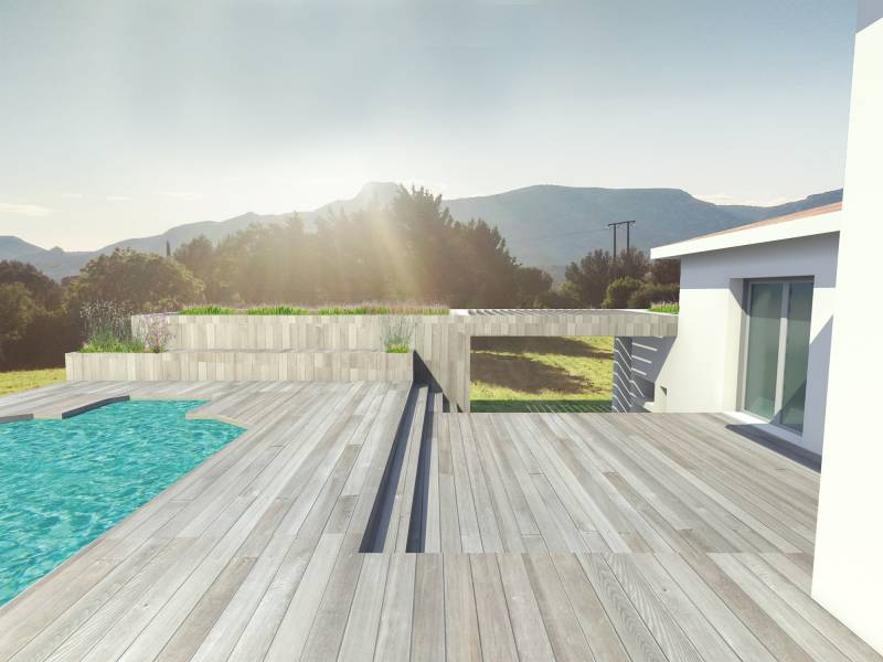 construction pool house contemporain